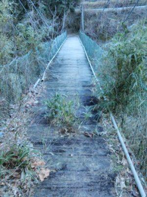 堂沢吊橋上