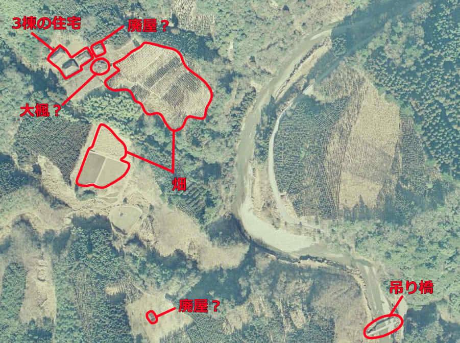 当時の追原集落周辺航空写真